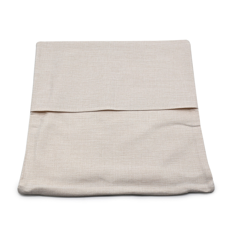 30pcs/lot Blank Monogram Pillow Case 40*40cm Book Pocket Pillow Cover Beige White DIY Polyester Linen Cushion Cover Home Decor image