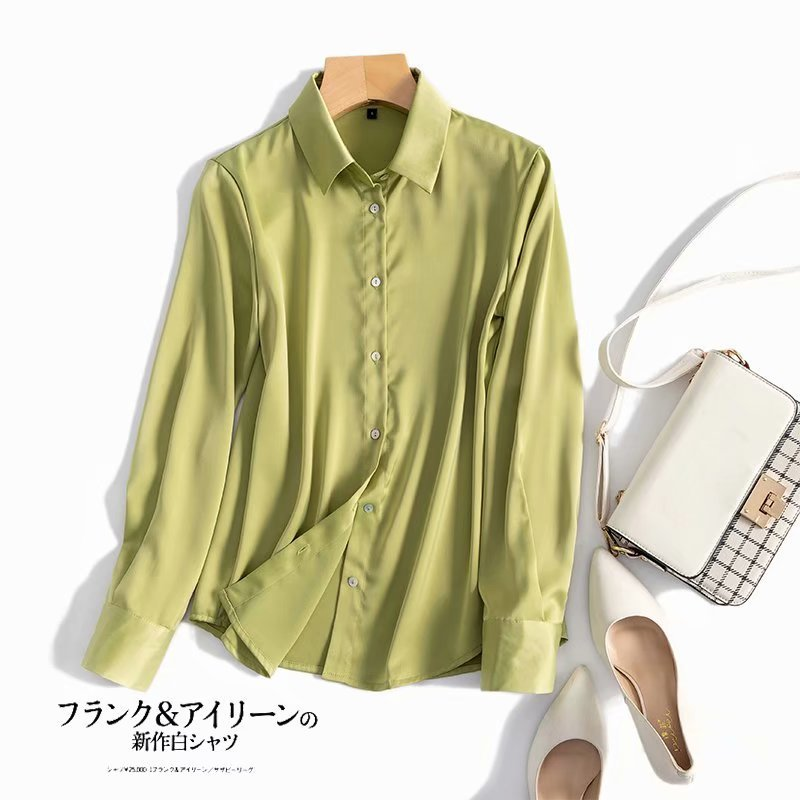 2020 Spring Long Sleeve Silk Shirt Women Solid Color Tops and Blouses Korean Button Shirts
