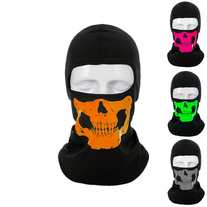 1pc Summer Skull Ghost Pattern Balaclava Cool Fashion Casual Mouth Face Mask Head Cover Unisex Adult Face Mask Cover Outdoor