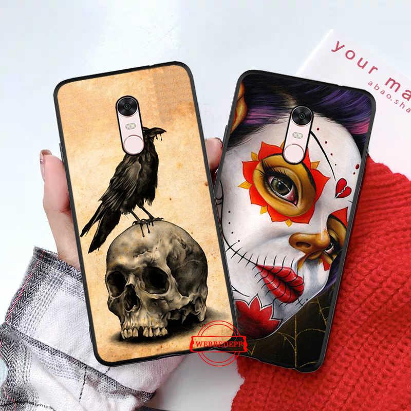 Messicano Del Cranio Della Ragazza tatuato Arte Custodia In Silicone per Xiaomi Redmi Nota 4X5 6 7 Pro 5A Prime