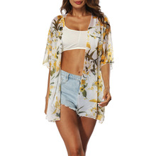Women Summer Floral Sunscreen Blouses Orchid Print