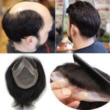 Eseewigs erkek peruğu doğal renk 8x10 Remy insan saçı peruk erkekler için düz Mono Net İsviçre dantel ön peruk cilt Pu etrafında