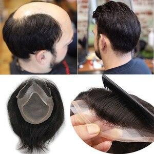 Image 1 - Éseewigs toupee masculino cor natural 8x10 remy peruca de cabelo humano para homens em linha reta mono net suíço laço frente peruca pele plutônio em torno