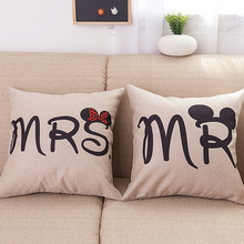INS Wind Couples Wedding MRR Valentine's Day Flax Pillow (Excluded Pillow Interior) Back Cushion Cushion Pillow Case цена 2017