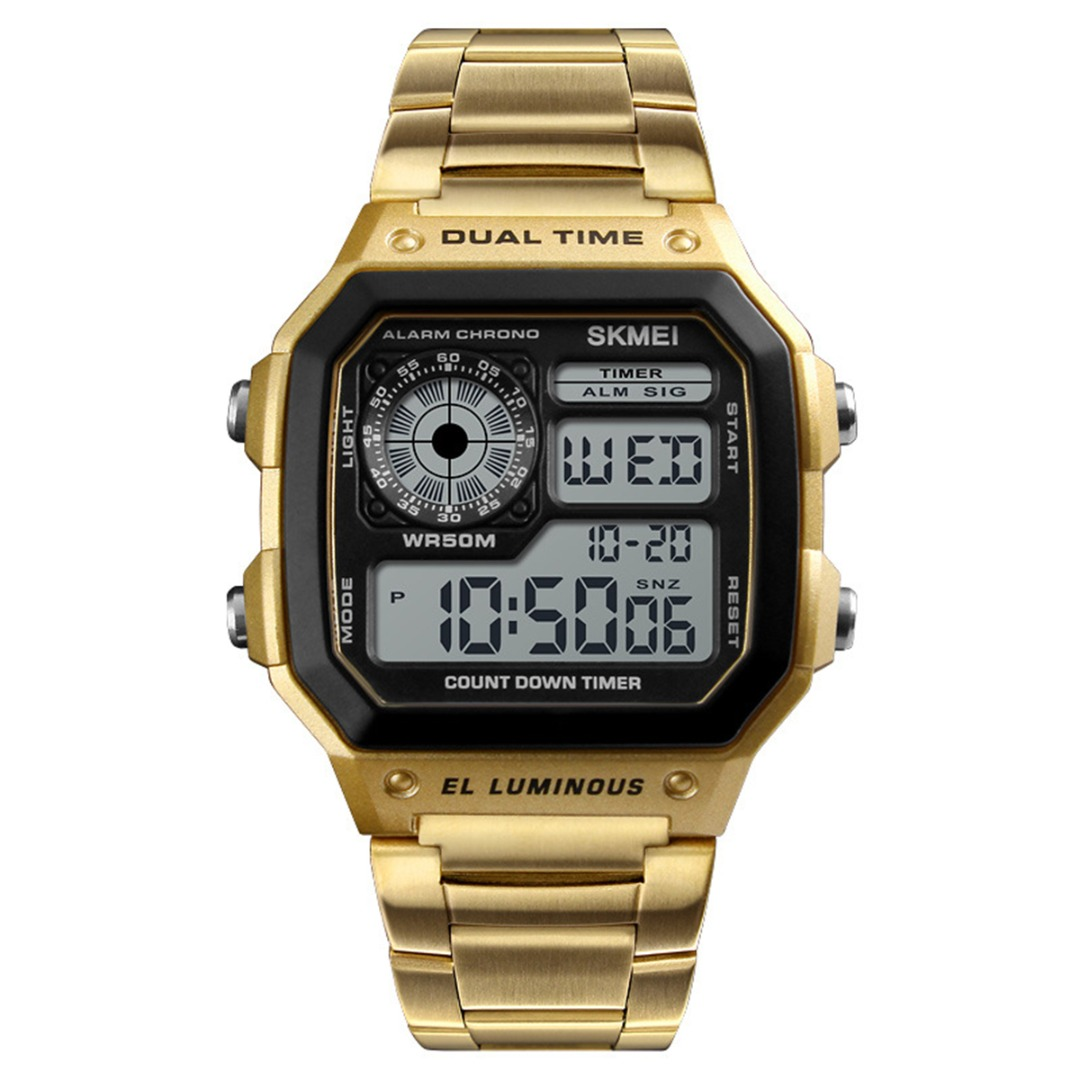 Fashion Casual Business Men Watches Famous Digital Display Square Dial Waterproof Sport Watch Clock Stainless Steel Wristwatch