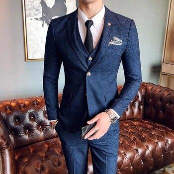 ( Jacket + Vest + Pants ) Boutique Fashion Mens Plaid Casual Business Suit High-end Social Formal Suit 3 Pcs Set Groom Wedding 8