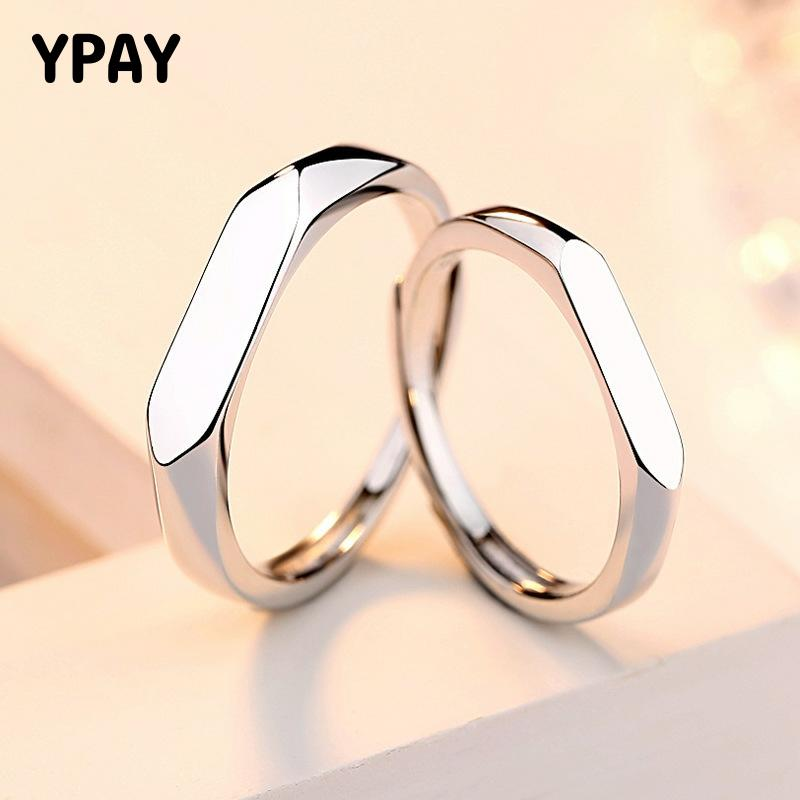 YPAY 100% Pure 925 Sterling Silver Couple Rings Men Women Simple Trendy Wedding Band Open Ring Fine Jewelry Lovers Gifts YMR944
