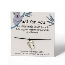 Ailodo lucky koala elefante pulseiras de pássaro, para mulheres, homens, cartão de desejo, artesanal, corda, corrente, pulseiras de tecido, moda, joias 20fevereiro 32