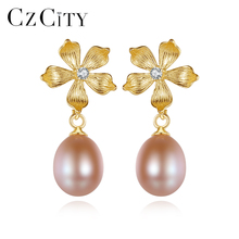 CZCITY New Exquisite Flower Freshwater Pearl Stud Earrings 925 Silver Women 4A R