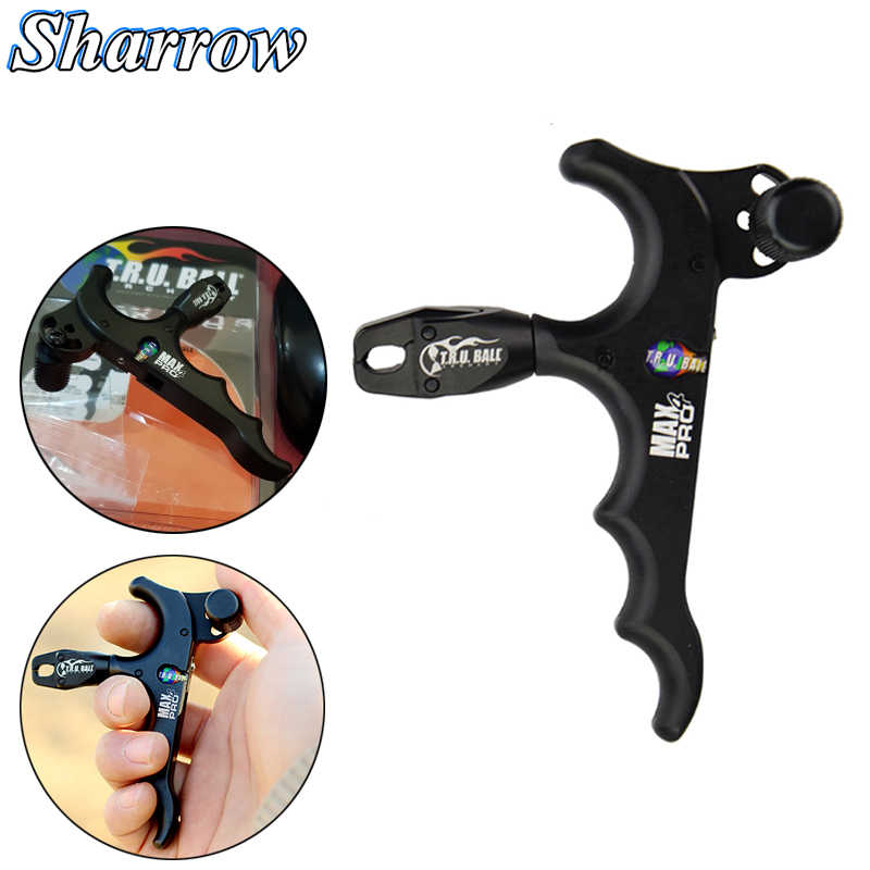 Sharrow Archery Thumb Release Stainless Steel 3 Finger Bow Release Black