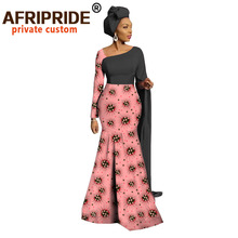 Afripride African Print Maxi Dress for Women Tailor Made Floor Length Women Trumpet Cotton