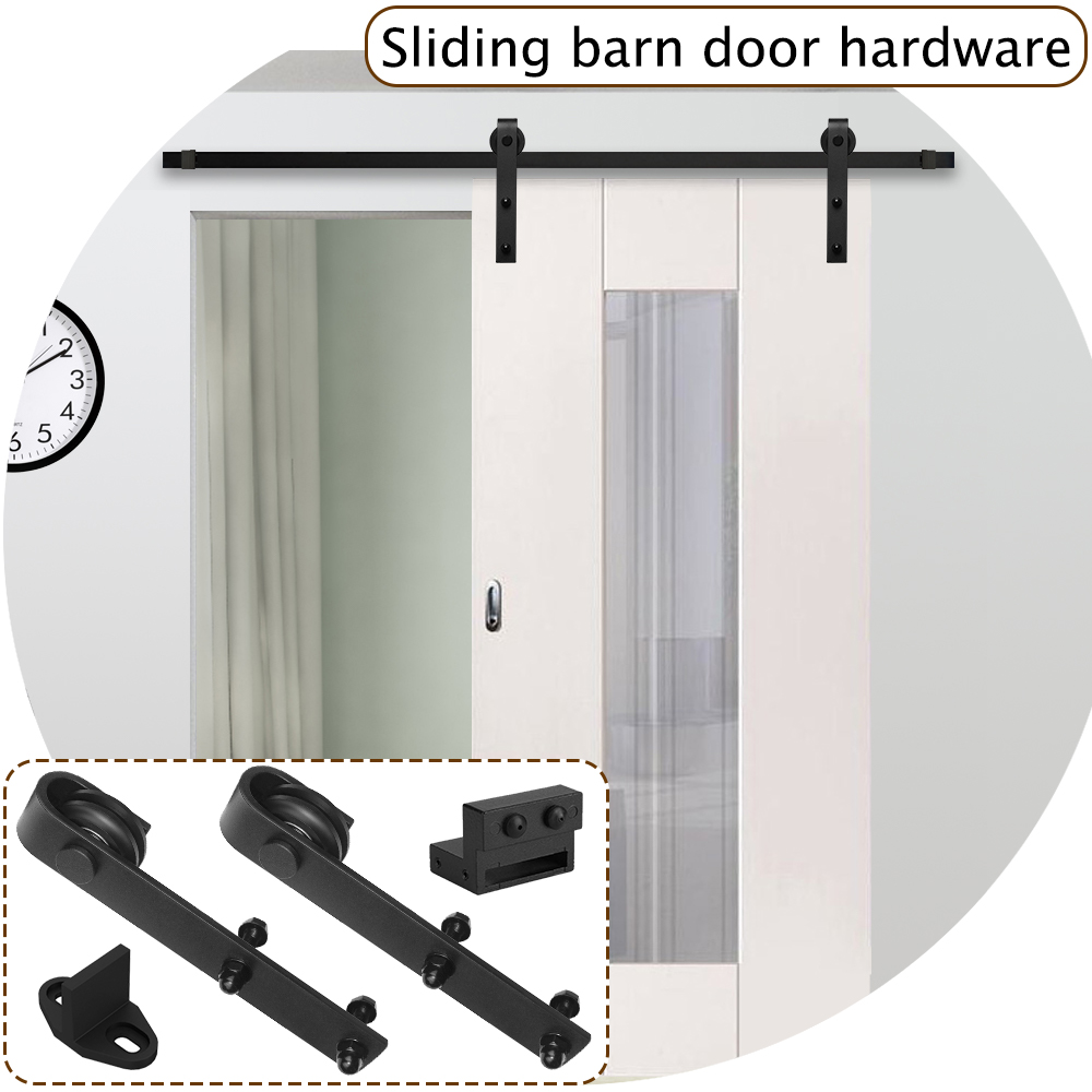 Sliding Barn Door Hardware Track Set Sliding Door Kit Closet Set Hanger 6/6.6FT