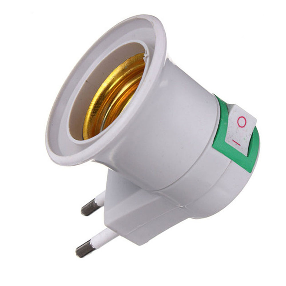 E27 EU Plug Adapter With Power On-off Control Switch E27 Socket Lamp Base Lamp Socket
