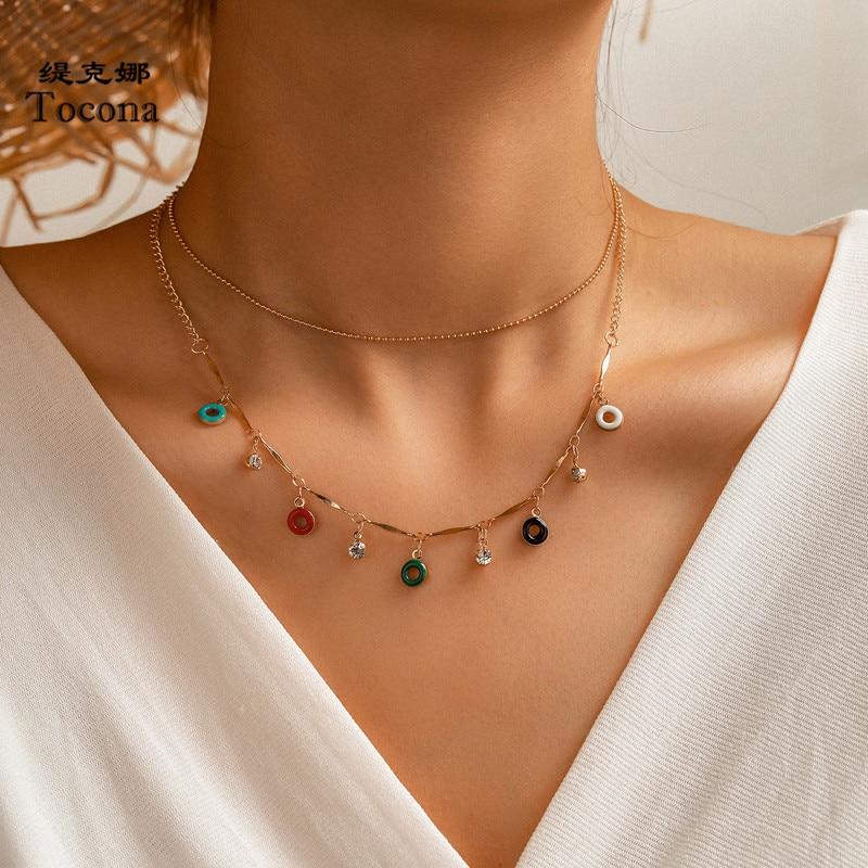 Tocona Colorful Round Multi-layer Chain Choker Necklace for Women Shiny Crystal Stone Geometric Bohemian Jewelry naszyjnik 14013