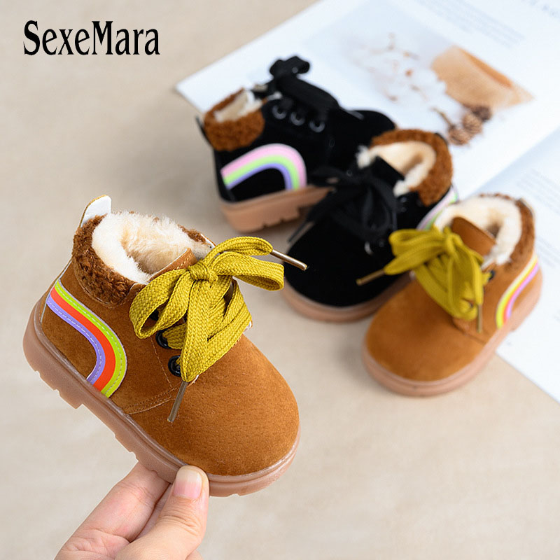 2019 New Arrival Winter Toddler Cartoon Plush Ankle Boots Baby Keep Warm First Shoes Kids Shoes Newborn Infant Boots Pink A10161