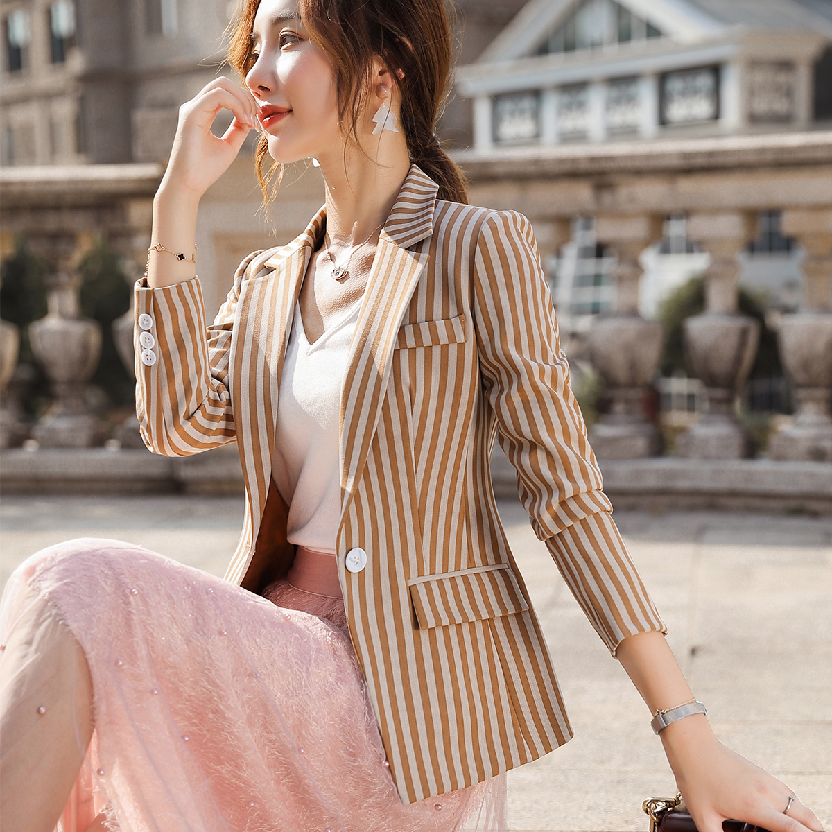 Female Elegant Formal New Plus Size 4XL Women Blazer Spring Summer Casual Long Sleeve Pink Black Yellow Stripe Jackets Blazer OL