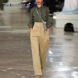 TWOTWINSTYLE комплект из двух предметов для женщин воротник с лацканами рубашки с длинными рукавами Высокая талия широкие брюки женский костюм ...