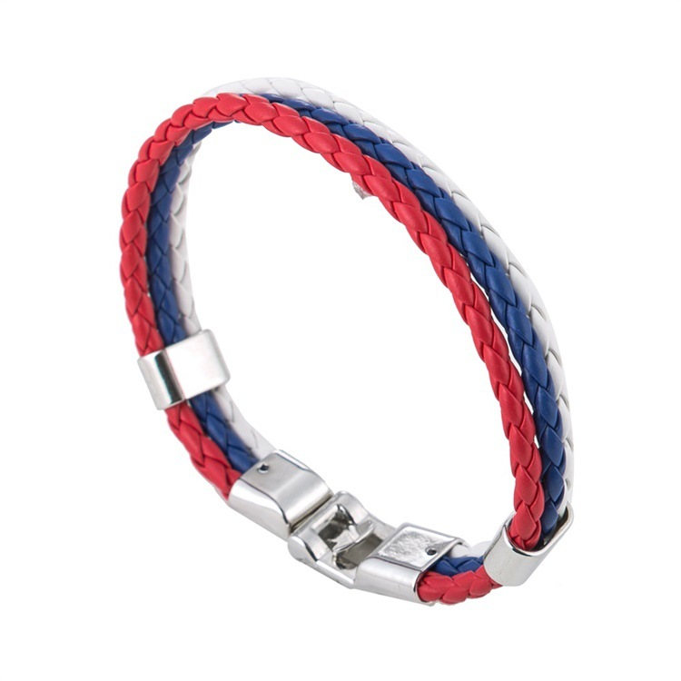 Football World Cup Flag Men And Women Bracelet Leather Braided Bracelet Creative Commemorative Jewelry Accessories