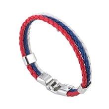 чемпионат мира по футболу флаг мужчин и женщин кожаный браслет плетеный креативные памятные ювелирные изделия аксессуары