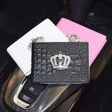 1X Crown Auto Führerschein Tasche PU Leder Kreditkarten Halter Fall Fahr Dokumente Karte Kredit Lagerung Innen Zubehör