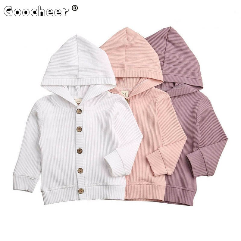 Spring Autumn Baby Jacket Infant Toddler Boy Girl Clothes Long Sleeve Hooded Knitted Coat Outwear Solid Ribbed Tops Jackets