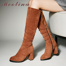 Meotina Winter Knee High Boots Women Boots Pleated Thick High Heels Long Boots Zipper Round Toe Shoes Lady Autumn Big Size 33-43 meotina women ankle boots high heels pointed toe autumn shoes 2018 rhinestone thick heels winter boots yellow big size 34 43 new page 8