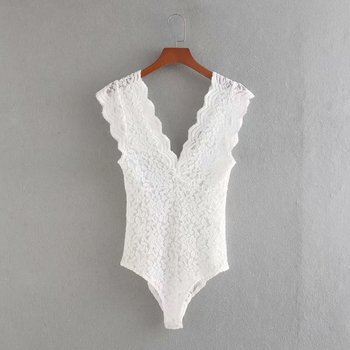 New 2020 Women Sexy Sleeveless Black White Color Lace Slim Bodysuit Chic Siamese Blouse Female Perspective Playsuits Blusas P811