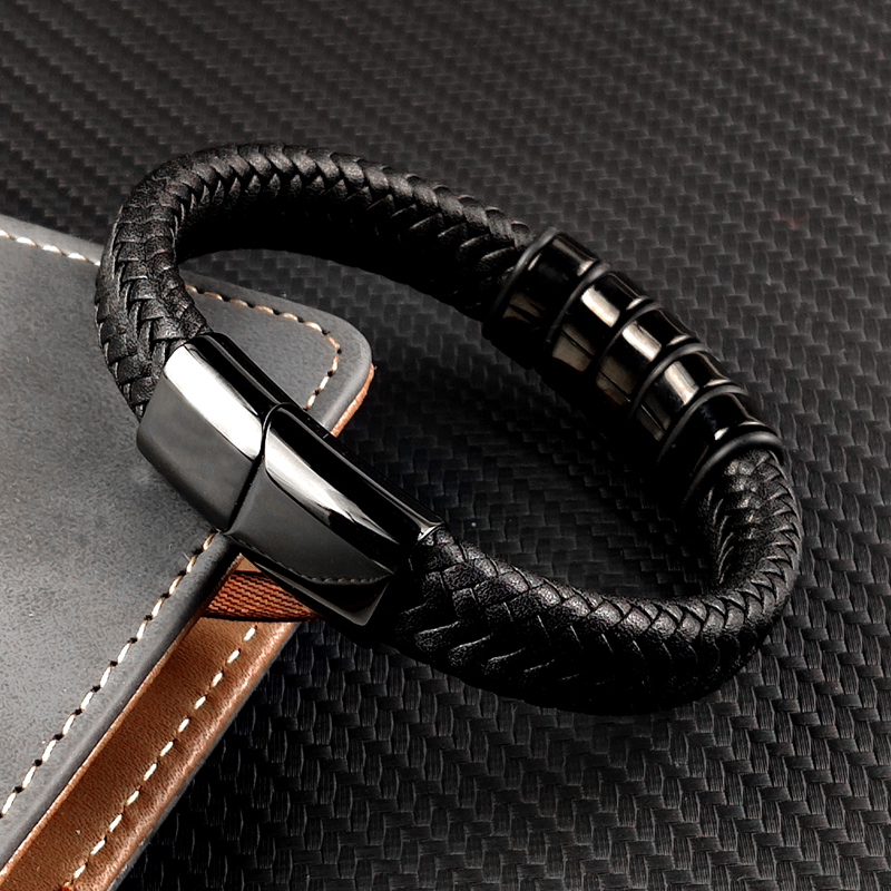 MingAo-Bracelet en cuir personnalisé pour hommes et femmes, perle en acier inoxydable Bracelet à breloques, cadeau d'anniversaire de Couple 2