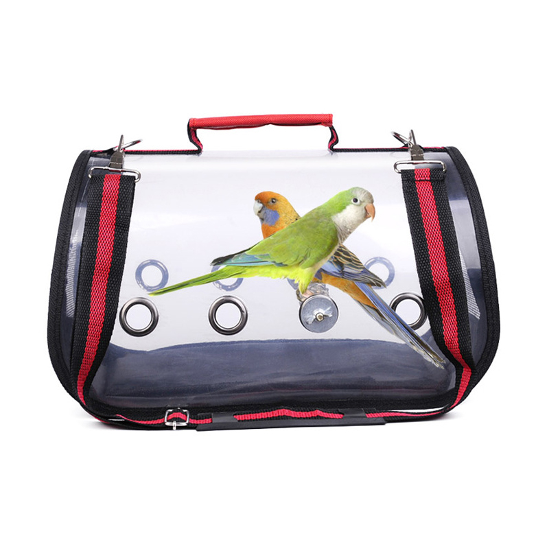 Birds Outdoor Carrier Bag Transparent Breathable Parrots Handbag Birds Travel Cage DIN889
