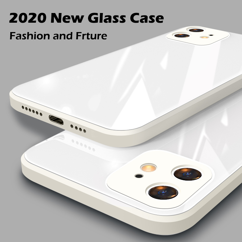 ASTUBIA Square Tempered Glass Case For iPhone 11 12 Pro Max Case Anti-knock Baby Skin