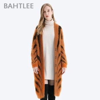 BAHTLEE Winter Women Angora Long Cardigans Sweater Tiger Stripe Leopard Pattern Wool Knitted Coat Jumper Open Stitc Mink V-Neck alluring jewel neck leopard pattern open back dress for women