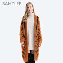 BAHTLEE Women Angora Long Cardigans Sweater Tiger stripe Leopard pattern Winter Wool Knitted Coat Jumper Open Stitc V-Neck(China)