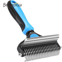 Benepaw Professional Dog Comb Rake 2 In 1 Safe Double-Sided Comfortable Handle Pet Grooming Brush For Mats Tangles Removing