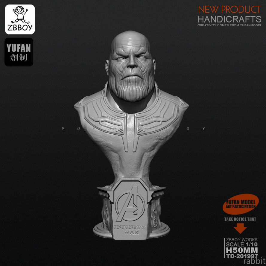 50MM Resin Kits Bust Thanos White Mold Resin Soldier Self-assembled TD-201997
