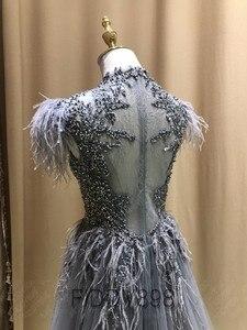 Image 4 - יוקרה שמלת ערב ארוך ערבית נוצת שרוול מבריק חרוזים נשף שמלה 2020 robe De Soiree Vestidos דה פיאסטה דה Noche