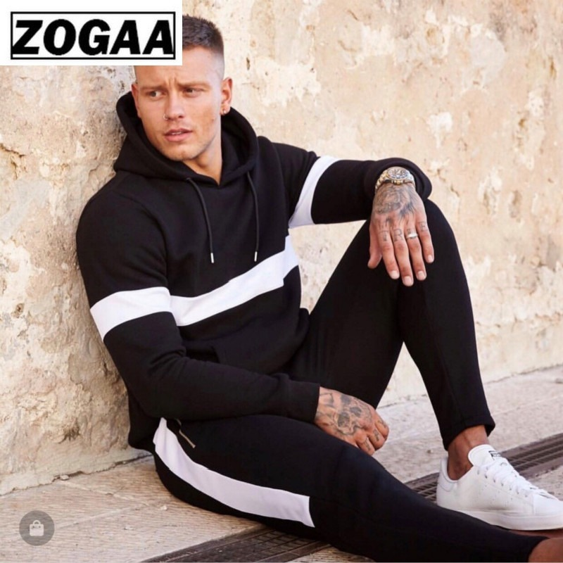 ZOGAA Tracksuit Men Hooded Stitching Color Sweatshirt+Pants Two Pieces Of Set Autumn Casual Sport Suit With Big Pocket Sweatsuit