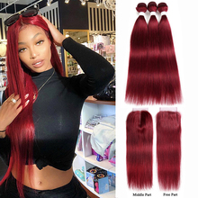 99J/Burgundy Human Hair Bundles With Closure 4x4 Red Color Brazilian Straight Hair Weave Bundles With Closure Non-Remy Hair KEMY