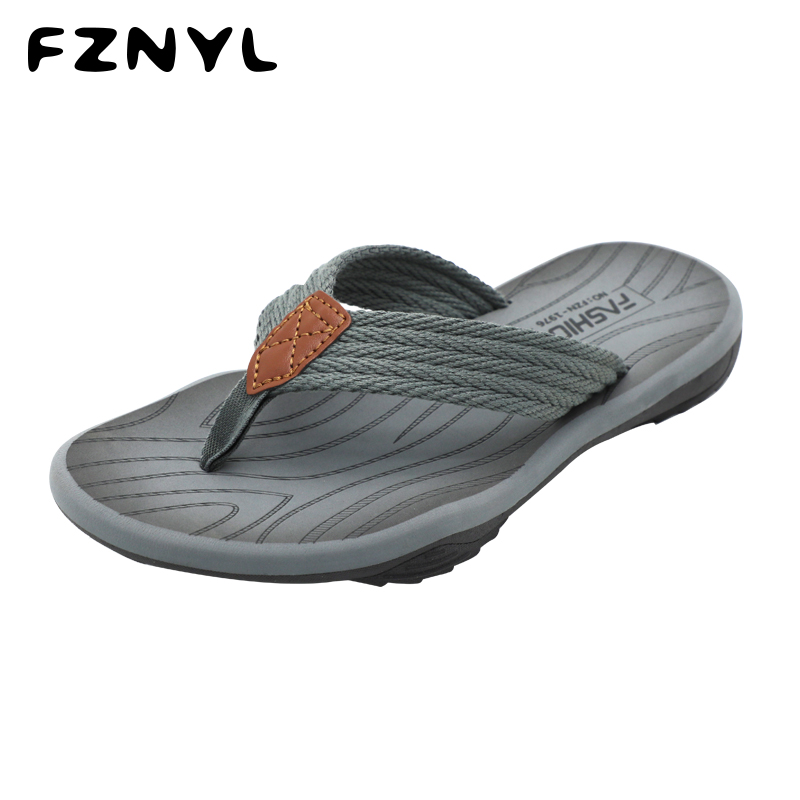 Cheap FZNYL 2020 New Arrival Men Flip Flops Sandals Breathable Summer Slippers Non-slip Rubber Fashion Outdoor Casual Shoes Size 40-44