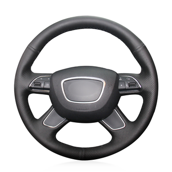 Hand-stitched Black Genuine Leather Anti-slip Soft Car Steering Wheel Cover for Audi A4 (B8) A6 (C7) A7 A8 A8 L Allroad Q5