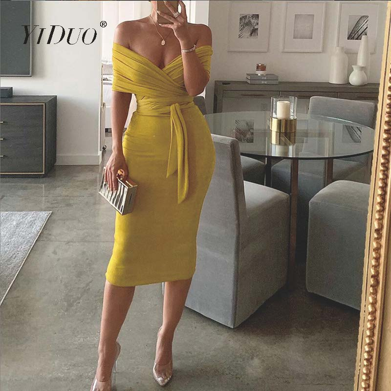 YiDuo Women Multiway Wrap Bandage Maxi Dress Sexy Off Shoulder Strapless Backless Lace Up Bodycon Long Party Dress Red Pink 2019