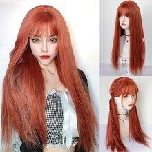 LIANGMO градиентный парик женский волосы воздушные челки длинные прямые волосы парик бабушка серый/золото/orange синтетический термостойкий пар...
