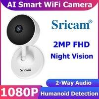 Sricam SP27 1080P WiFi IP Mini cámara inteligente Seguridad para el hogar Videovigilancia Baby Monitor H.264 3.6mm Control de aplicación Cámara de visión nocturna por infrarrojos Smart Life Home Alarma PIR Audio de 2 v