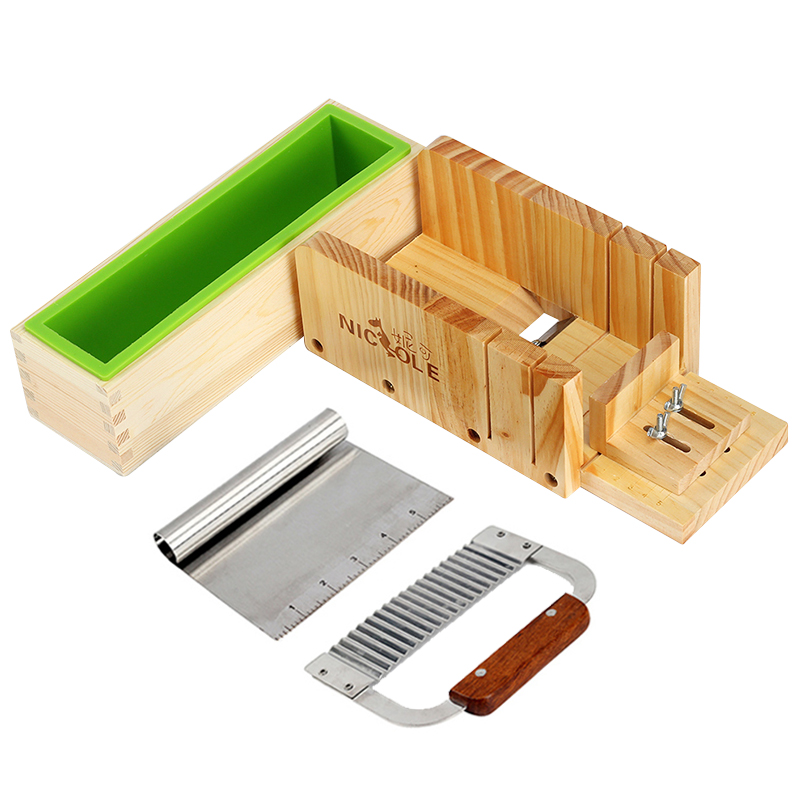 Nicole Soap Making Tool Set-4 Silicone Soap Mold With Wooden Cutting Box And 2 Pieces Stainless Steel Cutters