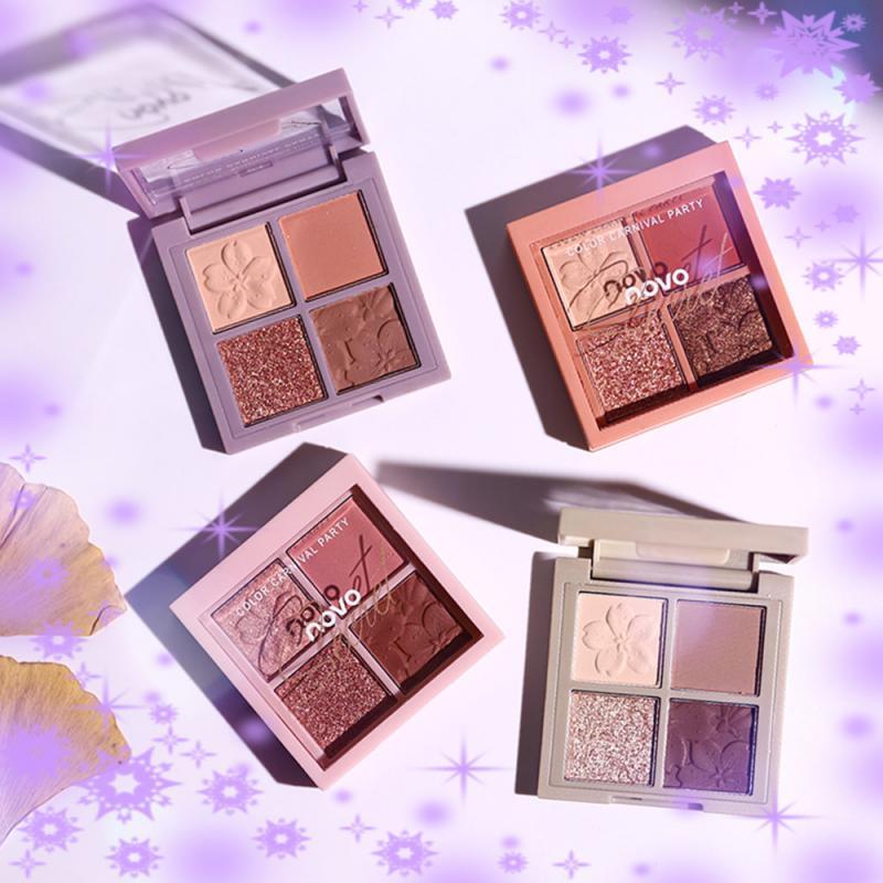 4 цвета, очаровательный набор для макияжа век, блестящие тени для век, пудра, Палетка, долговечная косметика