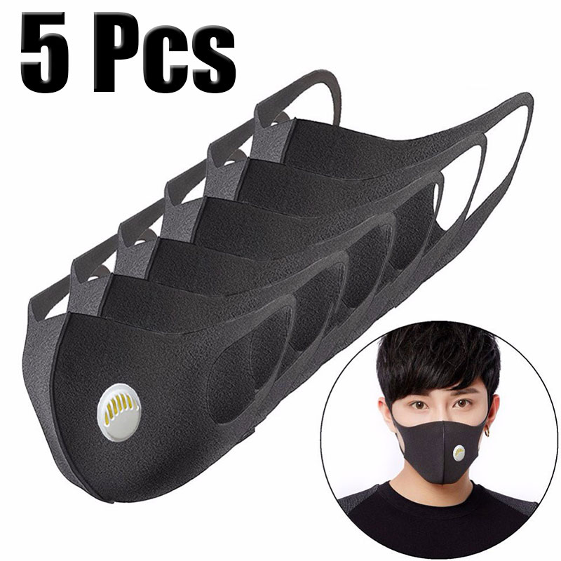 5 Pcs Face Mouth Mask Anti-Infection Virus Black Activated Carbon Filter Mouthmask For Unisex Anti-dust Mouth Facemask Washable