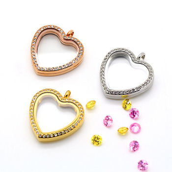 10PCS BOFEE Floating Locket Pendant Necklace Heart Magnetic 316L Stainless Steel Charm Waterproof Living Memory Love Jewelry
