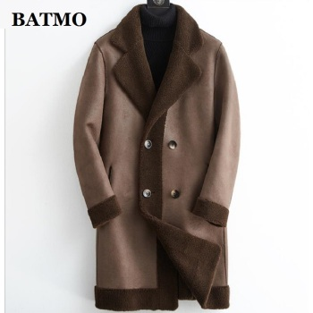 BATMO 2020 new arrival winter Genuine sheepskin&Cashmere trench coat men,men's fur parkas XK616