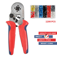 HSC8 6-4 1200PCS Crimping tools mini electrical crimper pliers Wire Stripper Tubular terminal box high precision clamp set