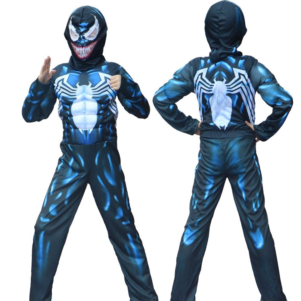 Cadılar bayramı yeni varış çocuk Venom örümcek kas kostüm adam örümcek erkek süper kahraman Cosplay Fantasia süslü elbise up