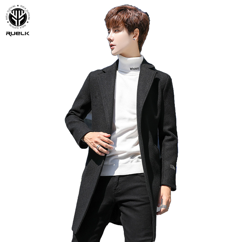 RUELK 2020 Winter New Korean Large Size Plus Cotton Wool Classic Solid Color Coat Men Casual Lapel Men Wool Windbreaker Jacket
